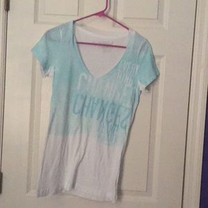 White/Blue V-Neck American Eagle Outfitters
